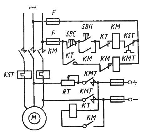 Динамическое торможение электродвигателя с короткозамкнутым ротором