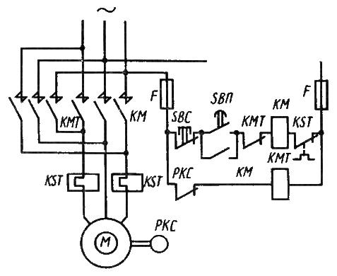 Торможение двигателя с короткозамкнутым ротором методом противовключения