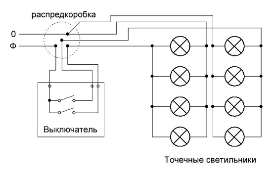 Схема подключения галогенных светильников фото 97
