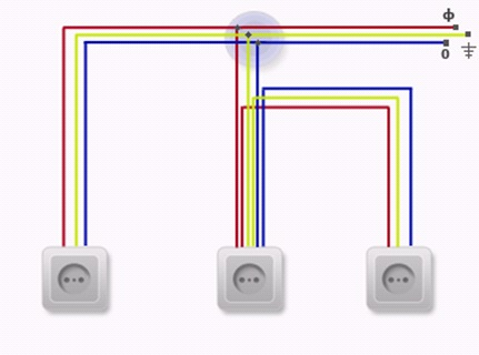 Схема подключения розетки с заземлением.