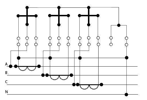 Схема подключения трёхфазного электросчётчика через трансформаторы тока.