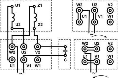Реверс однофазного двигателя Заметки электрика