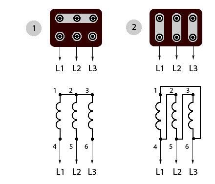 Схемы подключения трехфазных асинхронных электродвигателей, в том числе к сети 220 вольт.